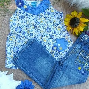 🌻Adorable Blue & Yellow Flower Outfit. EUC🌻